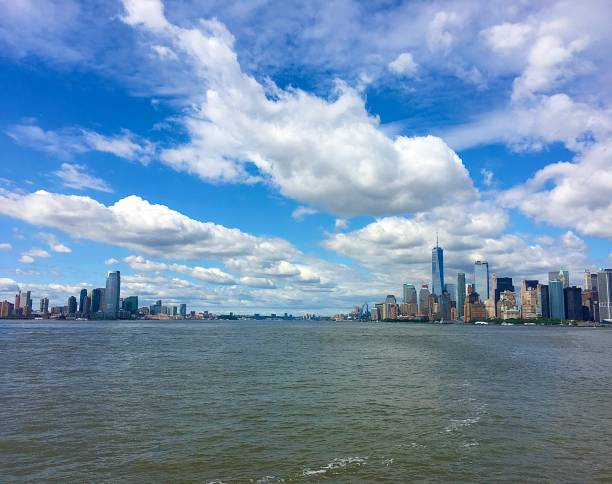 New York City from the Hudson River. stock photo