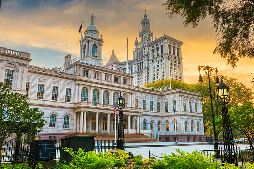 New York, New York, USA at New York City Hall in the morning time.