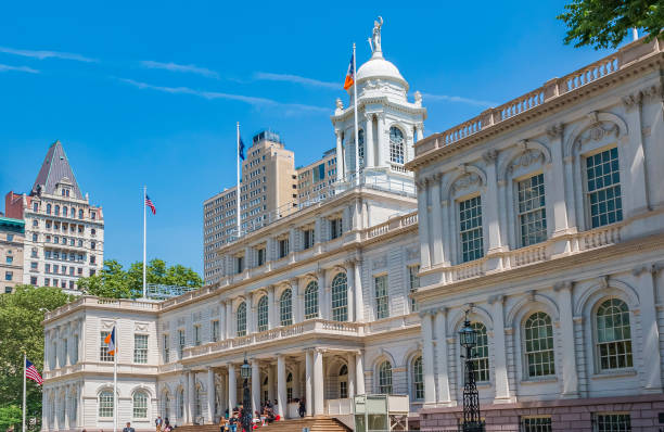 New York City Hall, with people on the steps stock photo