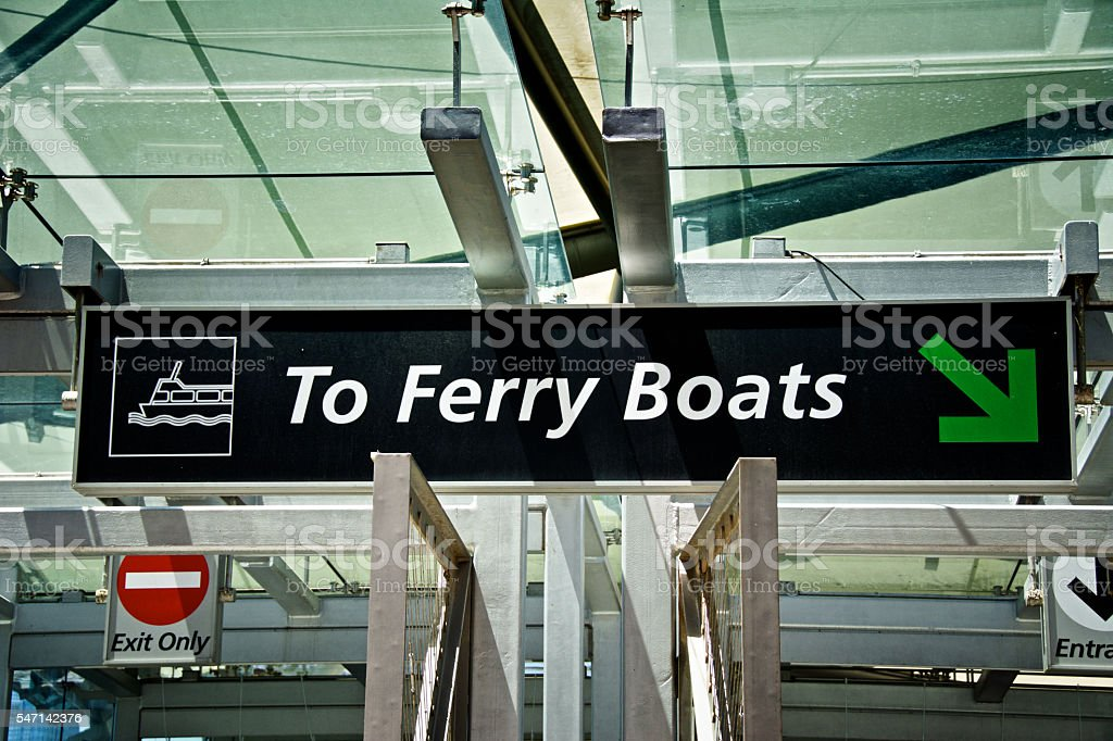 New York City Harbor Ferry Boat Terminal Entrance Information Signs stock photo