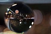 New York City (Lower Manhattan) as seen from Dumbo through a Lensball