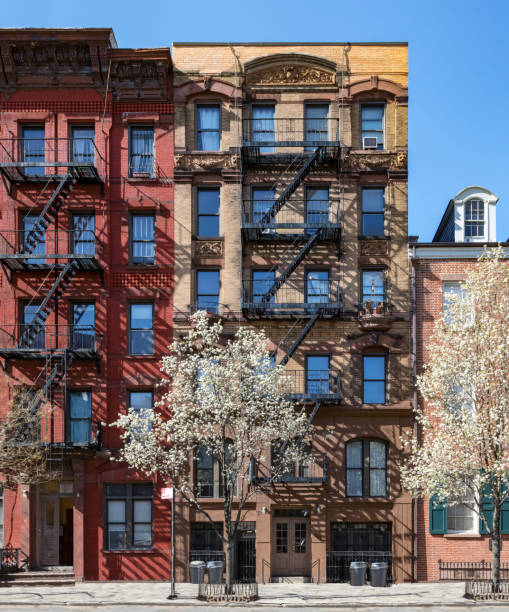 New York City in Spring - Historic buildings in the East Village of Manhattan New York City in Spring - Historic buildings on Stuyvesant Street in the East Village of Manhattan soho new york stock pictures, royalty-free photos & images