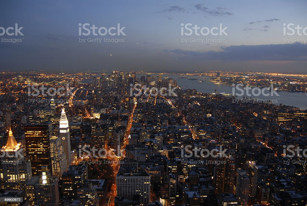 New York City in the evening royalty-free stock photo