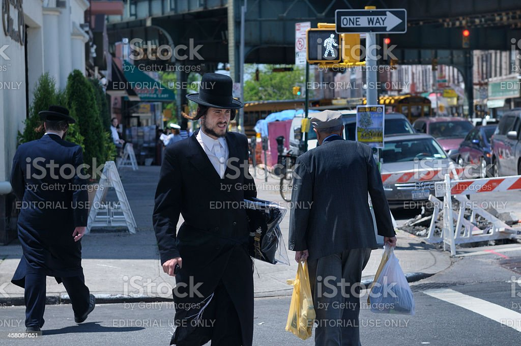 New York City Jewish Hassidic Man Crosses the Street stock photo