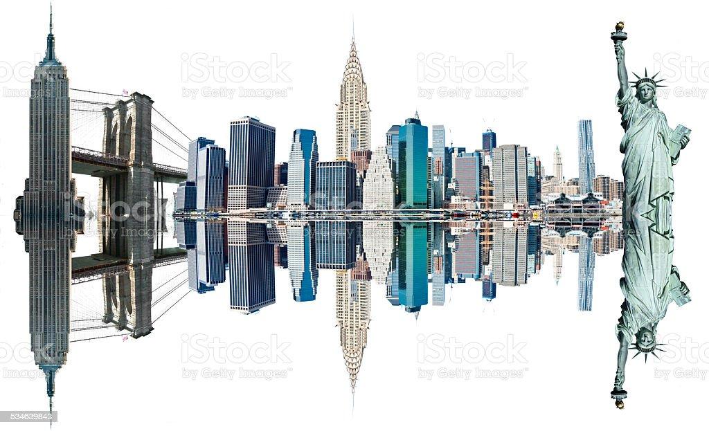 New York City Landmarks, USA. Isolated on white. stock photo