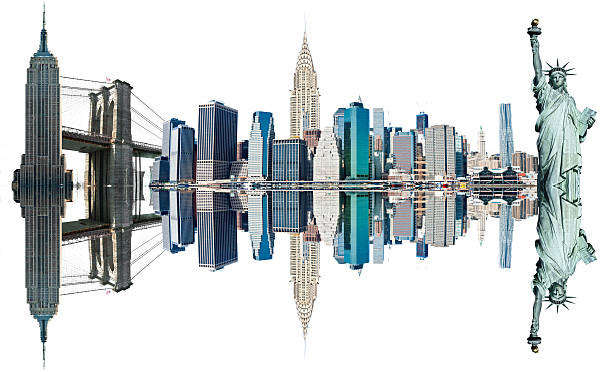 new york city landmarks, usa. isolated on white. - chrysler building stock photos and pictures
