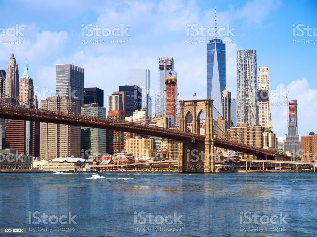New York city Lower Manhattan skyline stock photo