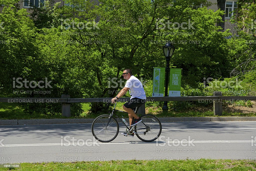 New York City Male Bicyclist, Central Park, Manhattan royalty-free stock photo