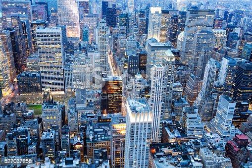 istock New York City, Manhattan, Aerial View at Dusk 527037258
