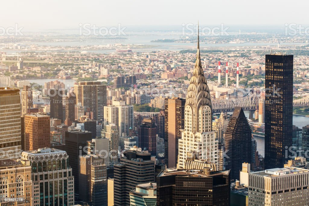 New York City Manhattan, Chrysler Building, aerial view with skyscrapers. View from Empire State Building stock photo