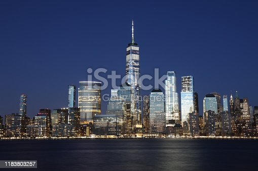 New York city Manhattan downtown skyline modern office building financial district skyscrapers night
