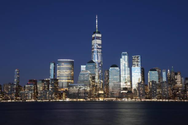 New York City Manhattan Skyline Skyline moderne Büro Gebäude Finanzviertel Wolkenkratzer Nacht – Foto