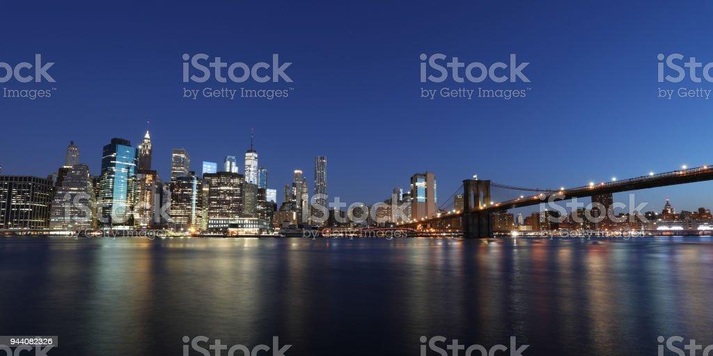 New York city Manhattan downtown skyline modern skyscrapers Brooklyn Bridge stock photo