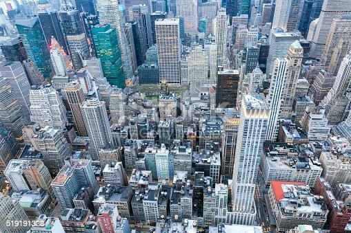 istock New York City, Manhattan, Elevated View at Dusk 519191328