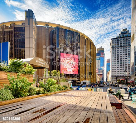 New York City Manhattan Madison Square gardens side view from the nearby esplanade.
