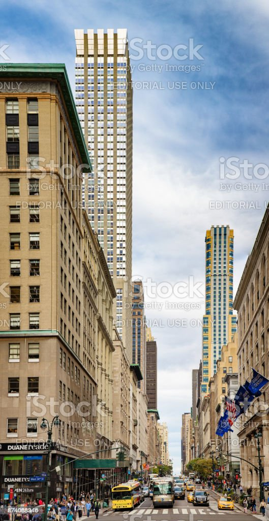 New York City Manhattan Midtown 5th avenue busy intersection with 34st street stock photo