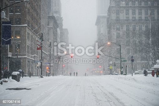 istock New York City Manhattan Midtown street under the snow 627067416