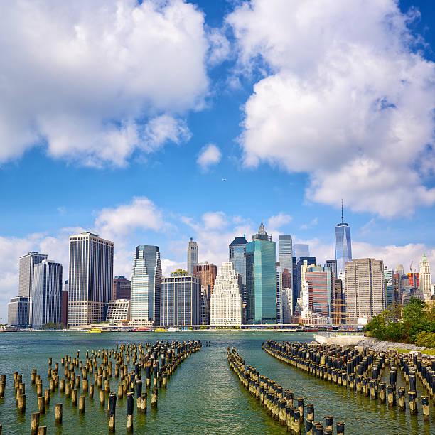 New York City Manhattan Lower Manhattan skyline seen from Brooklyn Bridge Park, New York south street seaport stock pictures, royalty-free photos & images
