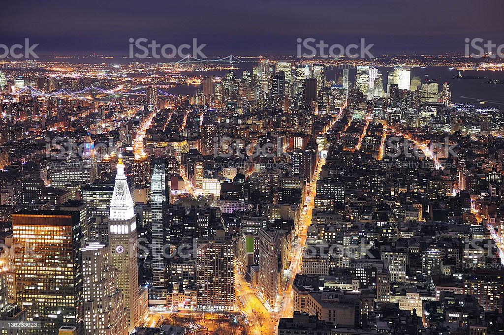 New York City Manhattan skyline aerial view at dusk royalty-free stock photo
