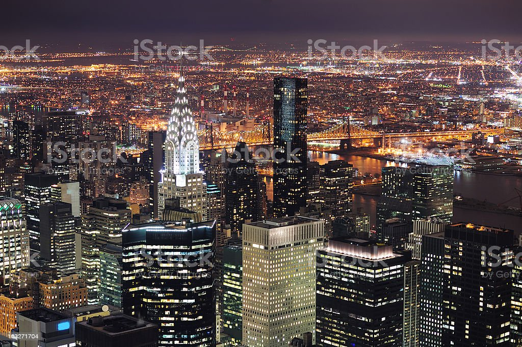 New York City Manhattan skyline aerial view at dusk royalty-free stock photo