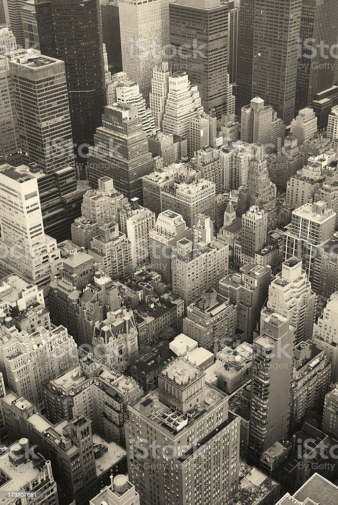 New York City Manhattan skyline aerial view black and white royalty-free stock photo