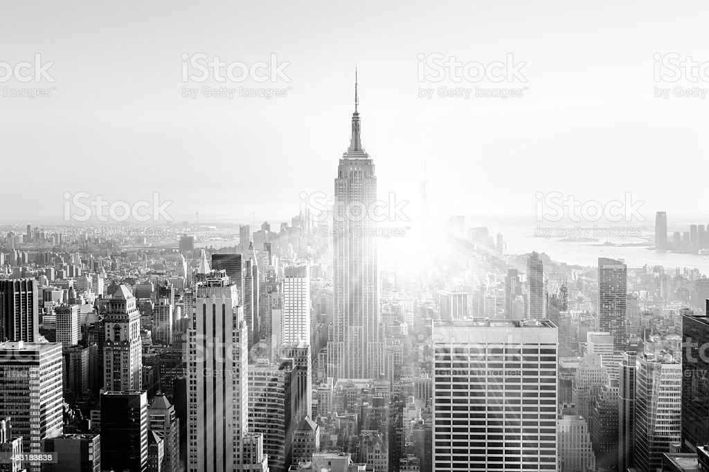 New York City Manhattan skyline bei Sonnenuntergang. - Lizenzfrei 2015 Stock-Foto
