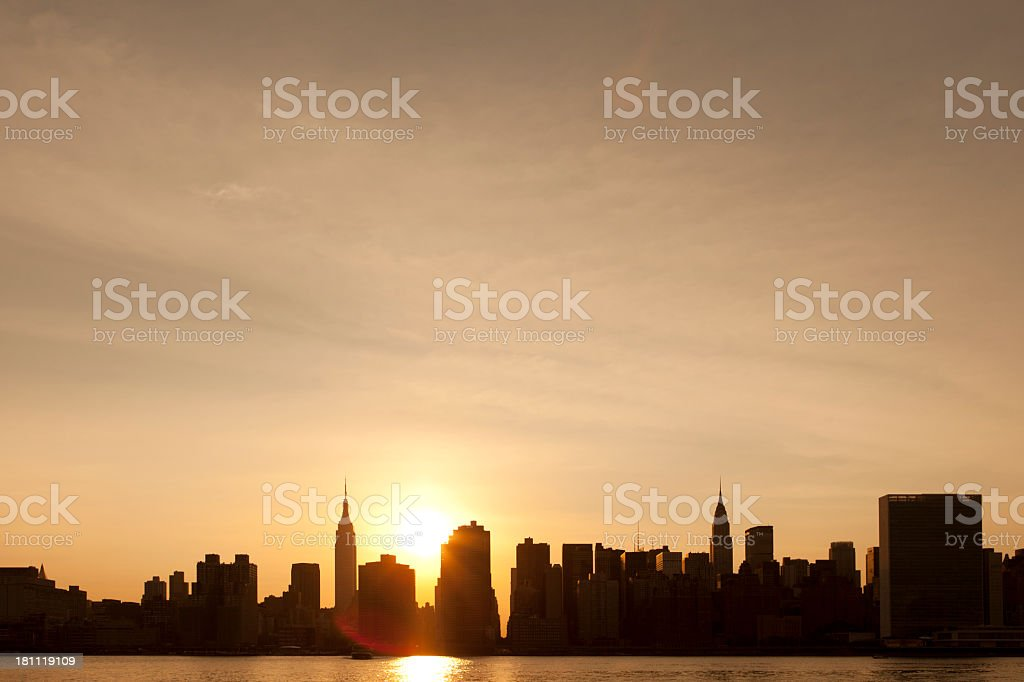 New York City Manhattan Sunset Skyline royalty-free stock photo
