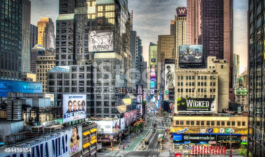 Times Square at Night with busy traffic and commercial atmosphere in Midtown Manhattan.