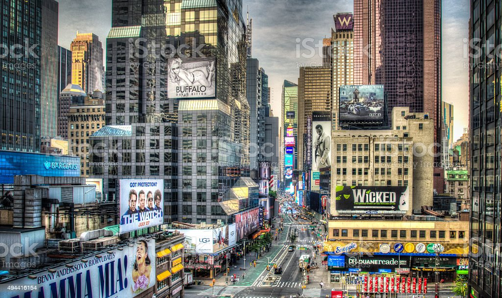 New York City Manhattan Times Square at Night HDR stock photo