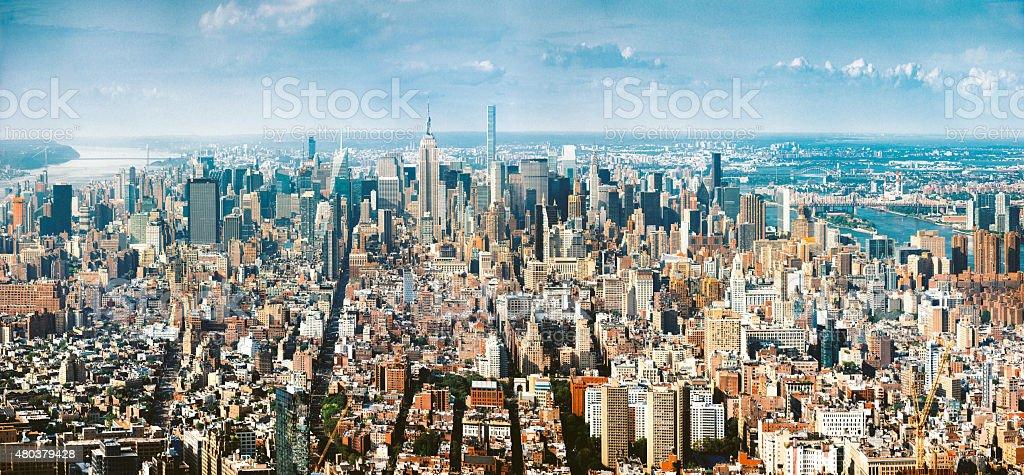 New York City midtown Aerial Panoramic view stock photo