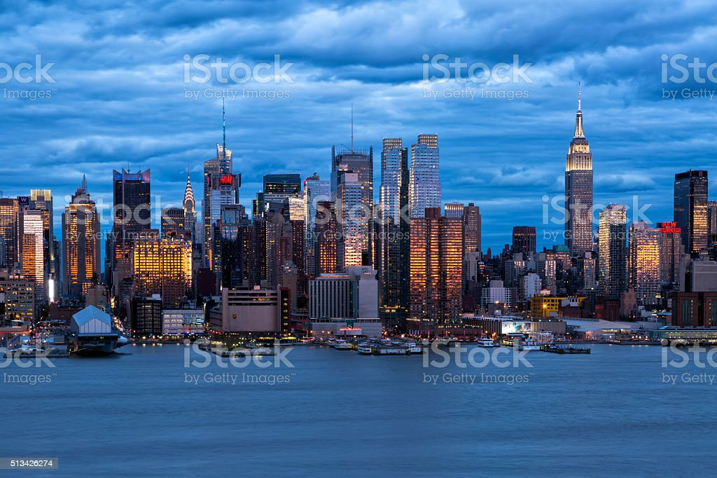 New York City, Midtown Manhattan, Skyline in Sunset Light stock photo