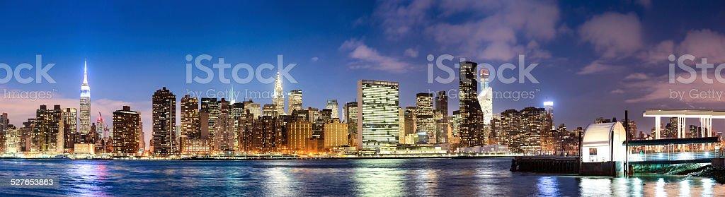 New York City Midtown Panorama at Dusk stock photo