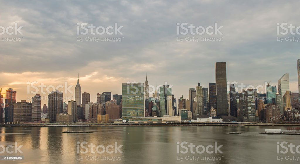New York City Midtown Panorama at sunset stock photo
