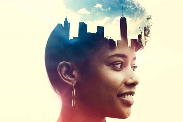 new york city mente estado conceito imagem - consciencia negra - fotografias e filmes do acervo