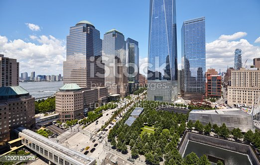 New York, USA - July 05, 2018: New York City modern downtown with 9/11 Memorial and World Trade Center seen from above.