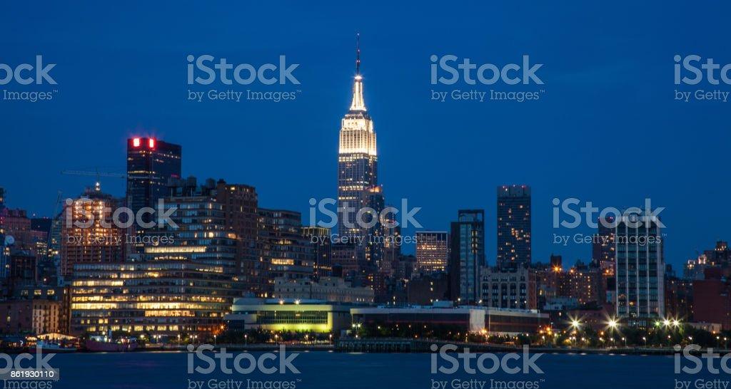 New York City night skyline in Midtown Manhattan stock photo