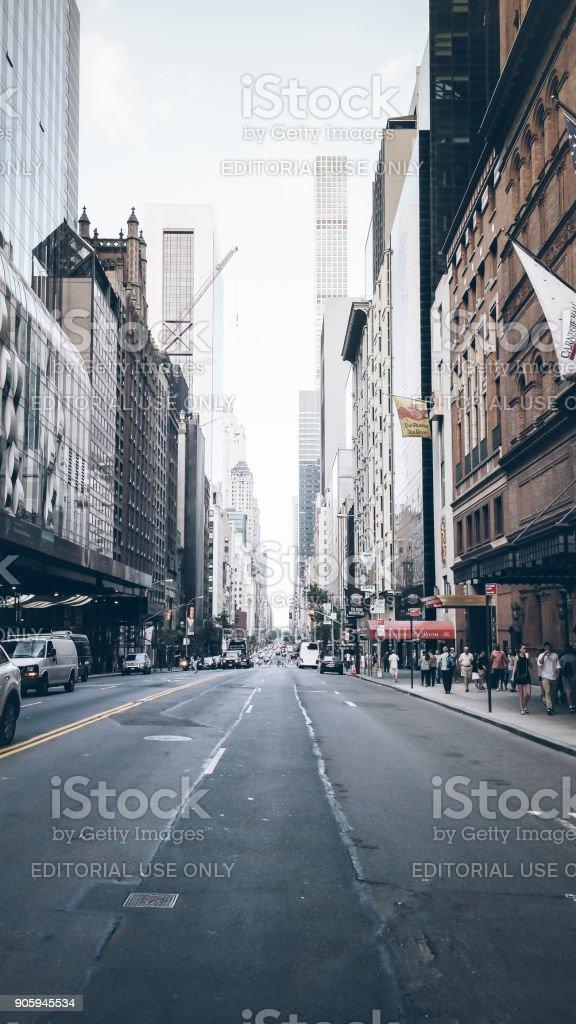 New York City, NY, USA 05.28.2016 W 57th Street outside of Carnegie Hall stock photo