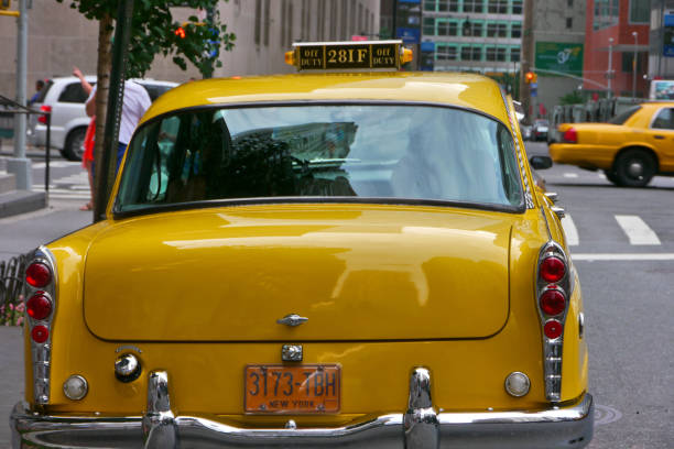 New York City, NY / USA: A vintage Taxicab at Lower Manhattan stock photo