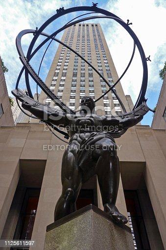 New York City, NY / USA - August 2012: The Atlas Statue at Rockefeller Center