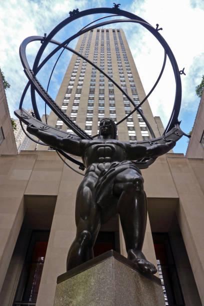 New York City, NY / USA: The Atlas Statue at Rockefeller Center stock photo