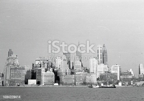 New York City, NYS, USA, 1950. New York City Skyline, Panorama.