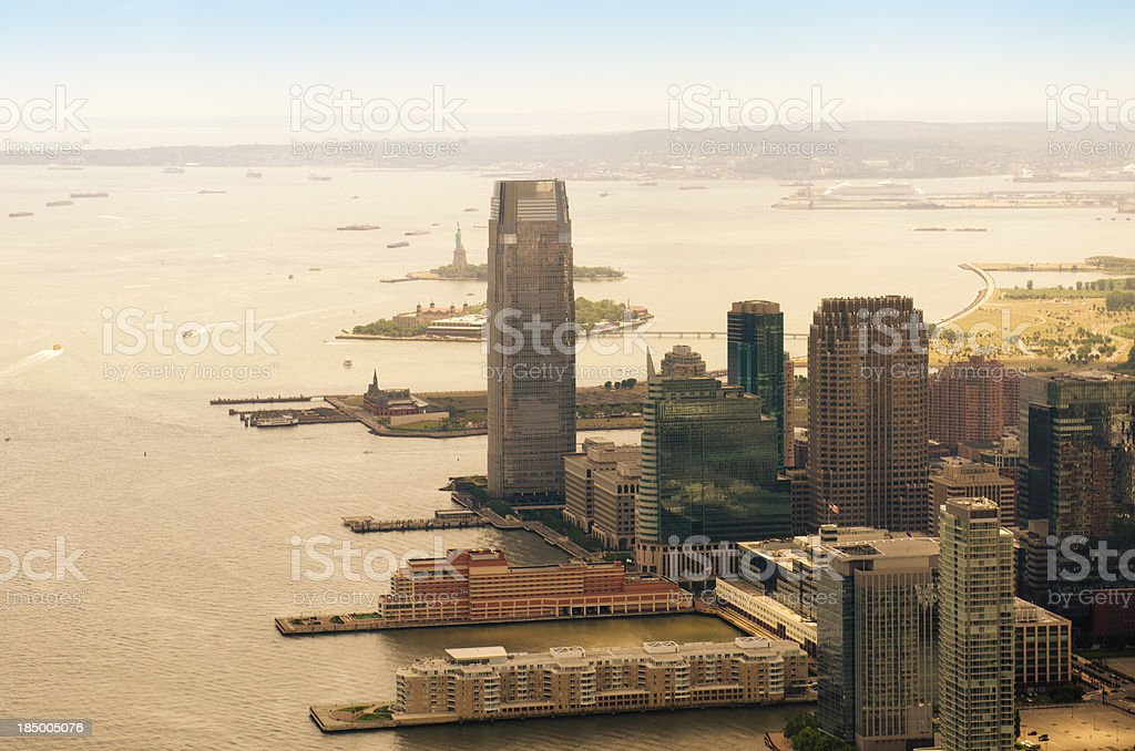 New York city panorama of East river stock photo