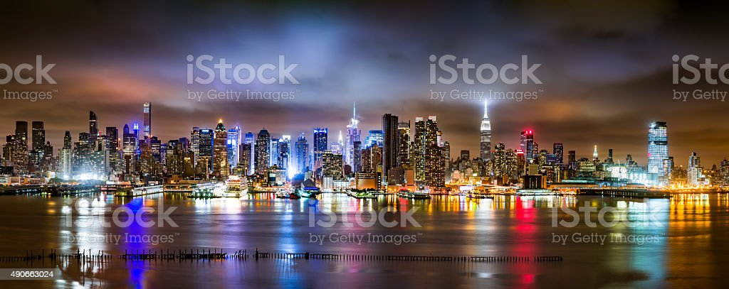 New York City Panorama on a cloudy night stock photo