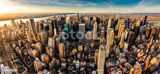 Panoramic aerial view of Midtown Manhattan at sunset. New York City.