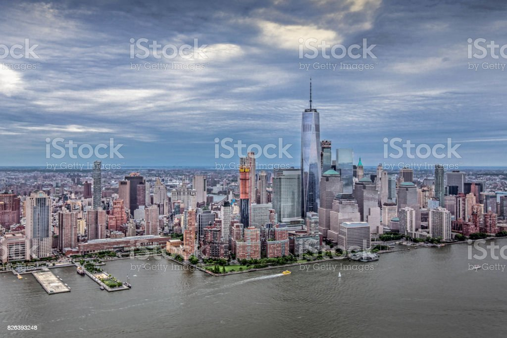 New York City Panoramic from Helicopter stock photo