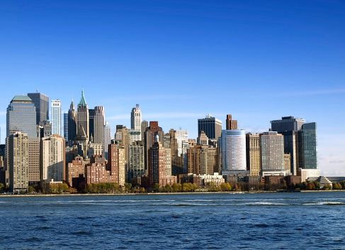 West side of lower Manhattan by the Hudson river .