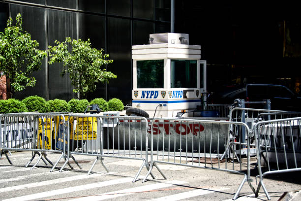 NYPD - New York City Police Barriers at Trump Tower, Midtown Manhattan, New York City, USA stock photo