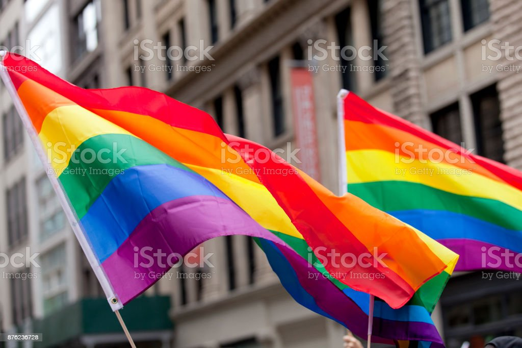 New York City Pride Parade - Flags The New York City Pride Parade celebrating all lifestyle choices. Flags at the parade. The parade route was lined with tens-of thousands of spectators supporting the event. Adult Stock Photo