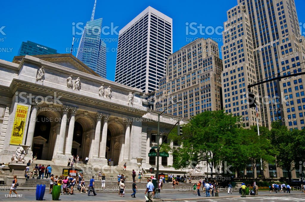 New York City Public Library Main Branch & Cityscape, Manhattan stock photo