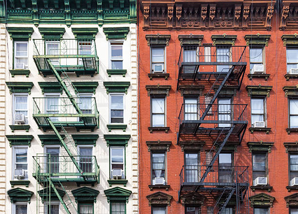 New York City Red and Green Apartment Buildings stock photo